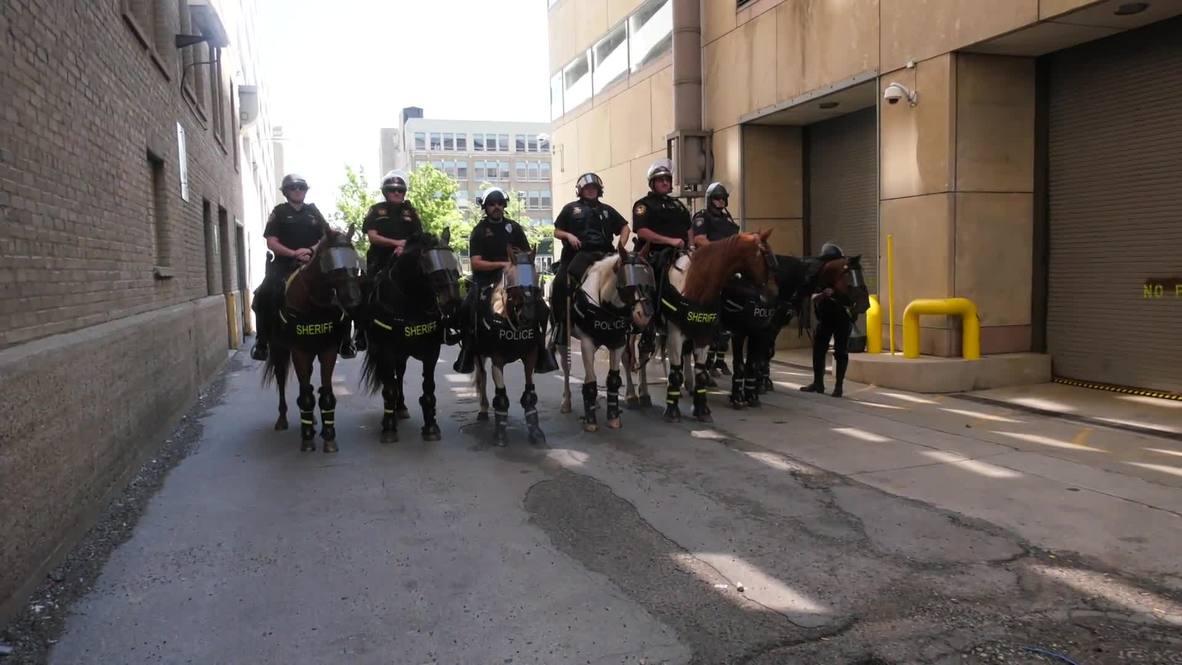 USA: Protesters gather against KKK rally in Dayton, Ohio