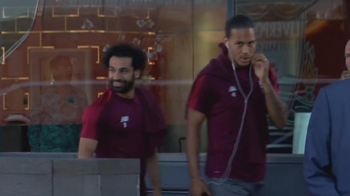 España: Los jugadores del Liverpool FC se dirigen a la sesión de entrenamiento antes de la final