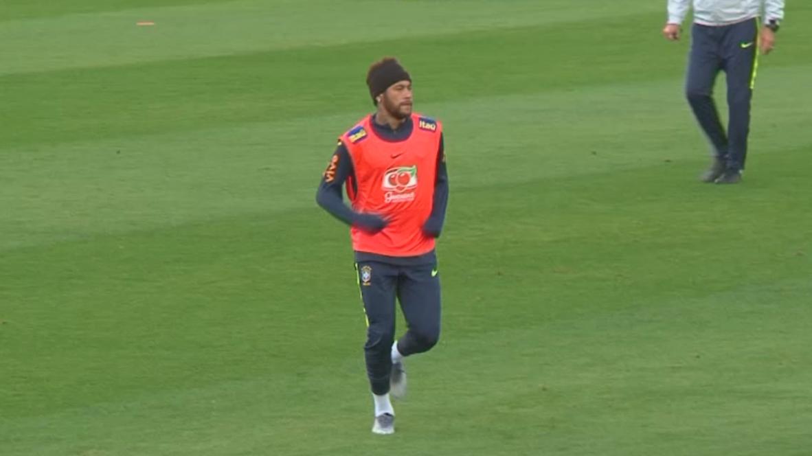 Brazil: Neymar trains with teammates for Qatar friendly