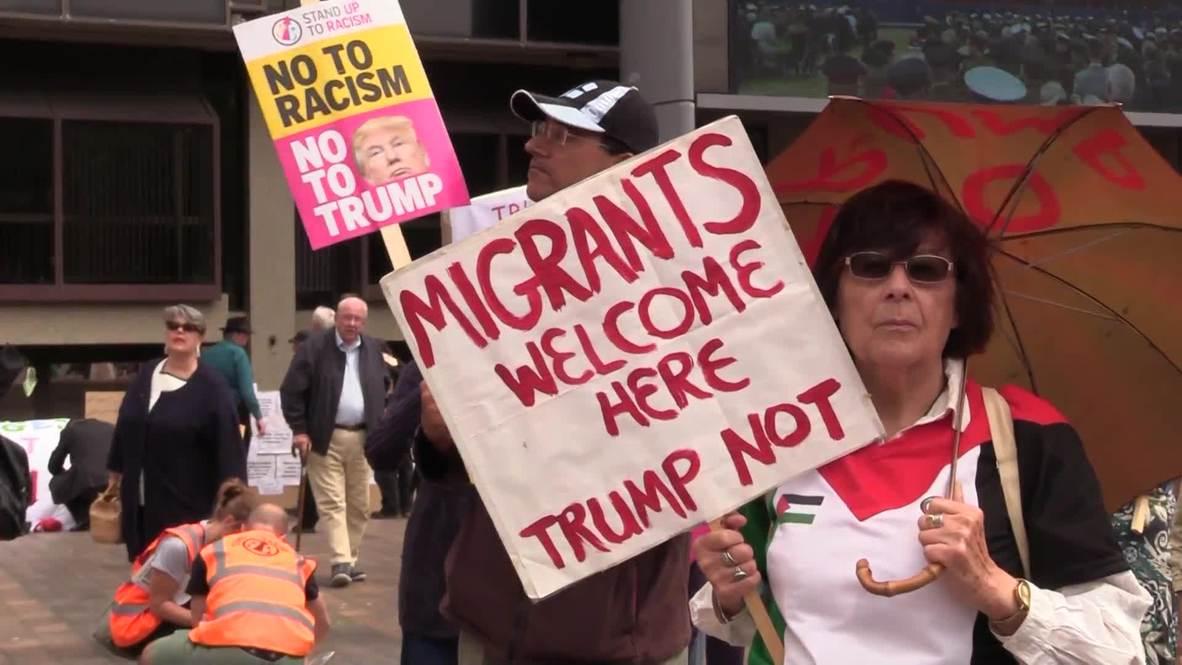 Reino Unido: Manifestantes se reúnen en Portsmouth para rechazar presencia de Trump