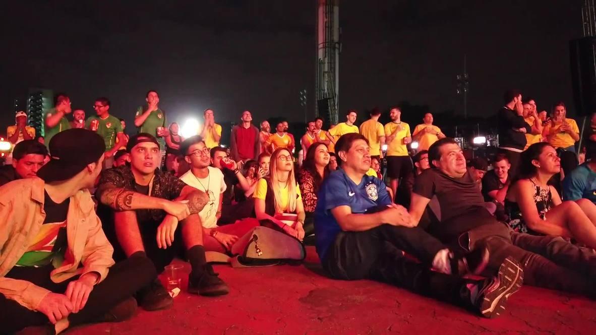 Brasil: Aficionados locales celebran una cómoda victoria en el primer partido de la Copa América