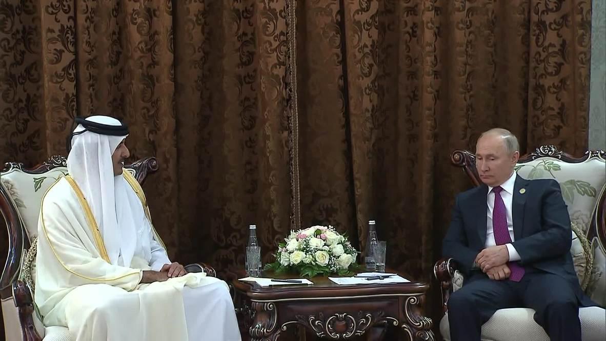 """Таджикистан: Путин и эмир Катара подчеркнули """"значительное"""" инвестиционное сотрудничество России и Катара"""