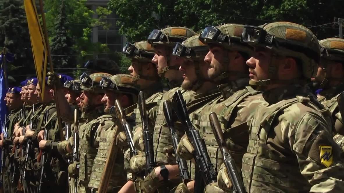 Ukraine: Far-right Azov Battalion hold parade on 5th anniv. of Mariupol 'victory'