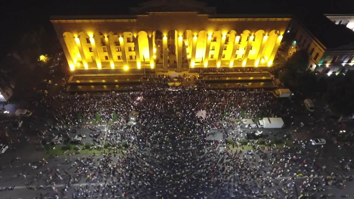 Georgia: Imágenes desde un dron muestran a multitud de manifestantes antigubernamentales