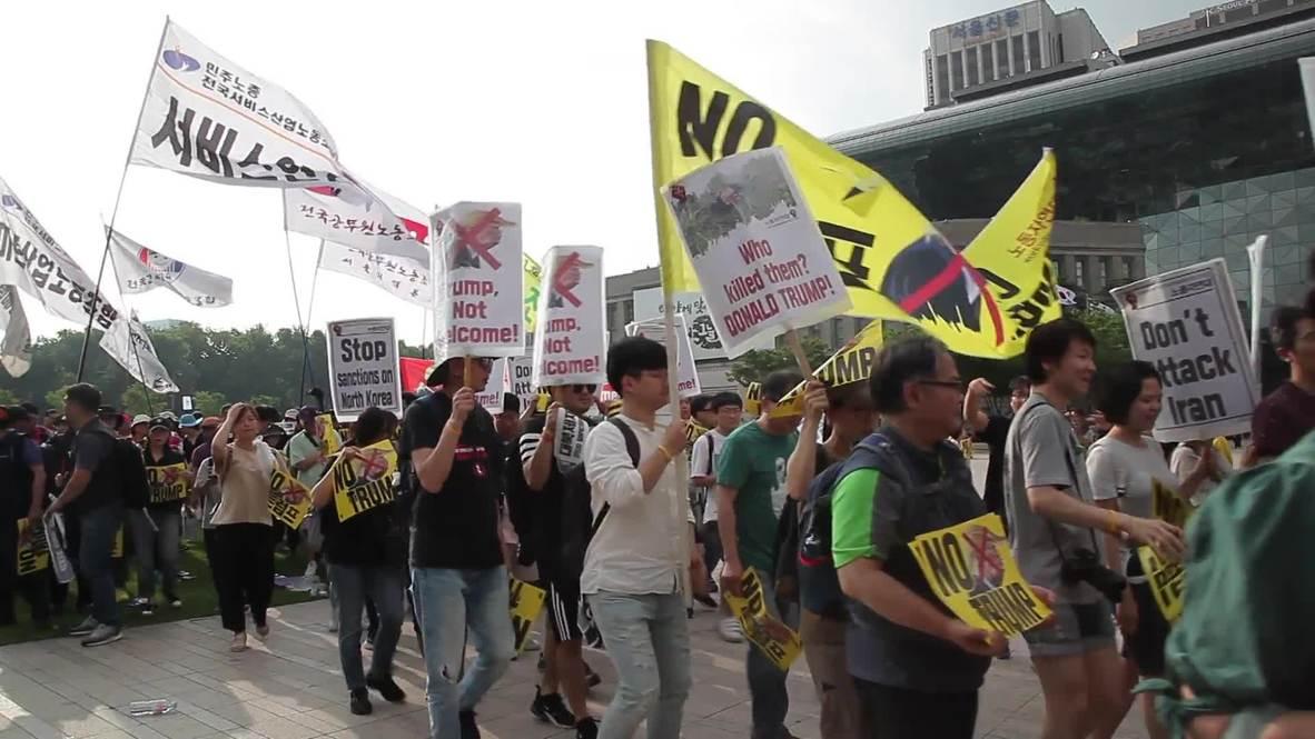 Corea del Sur: Trump es recibido con protestas a su llegada a Seúl
