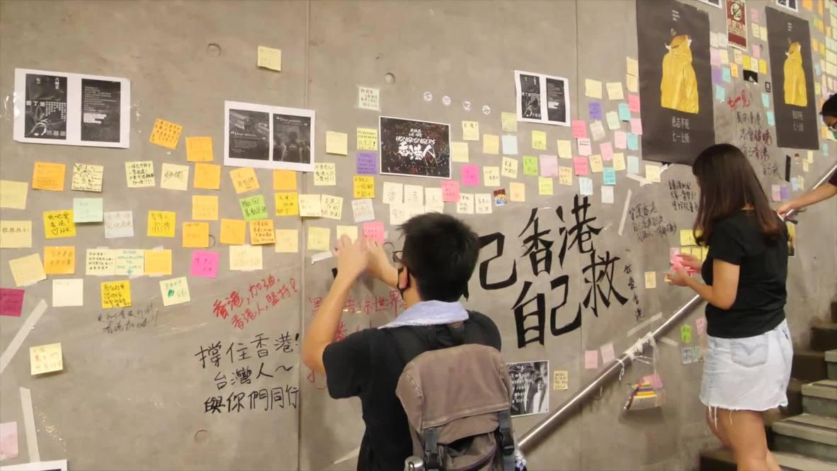 Hong Kong: Activistas homenajean a una estudiante que falleció al caerse de un edificio