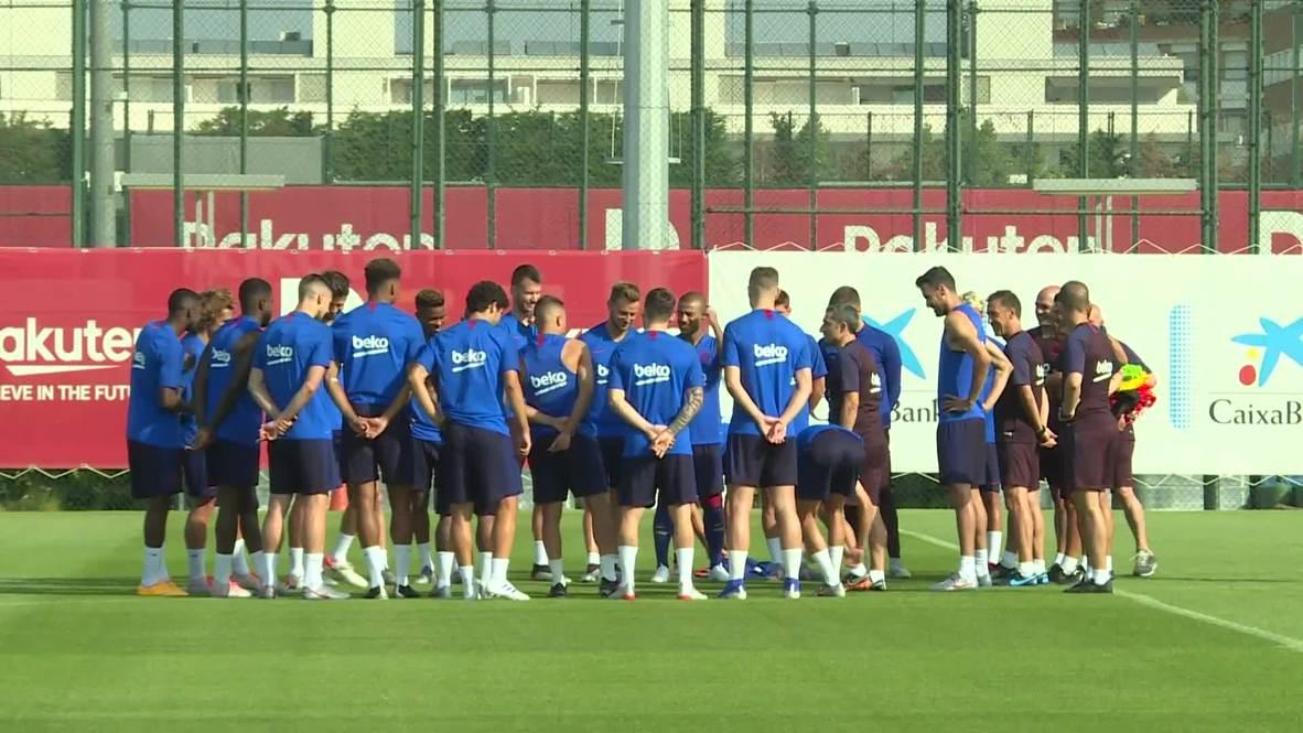 España: Griezmann entrena por primera vez con el FC Barcelona