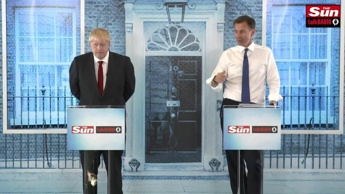 UK: Boris Johnson and Jeremy Hunt go head to head in leadership debate