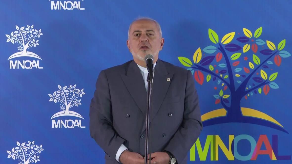 """Venezuela: Zarif acusa a EE.UU. de """"terrorismo económico"""" durante la reunión del MNOAL"""