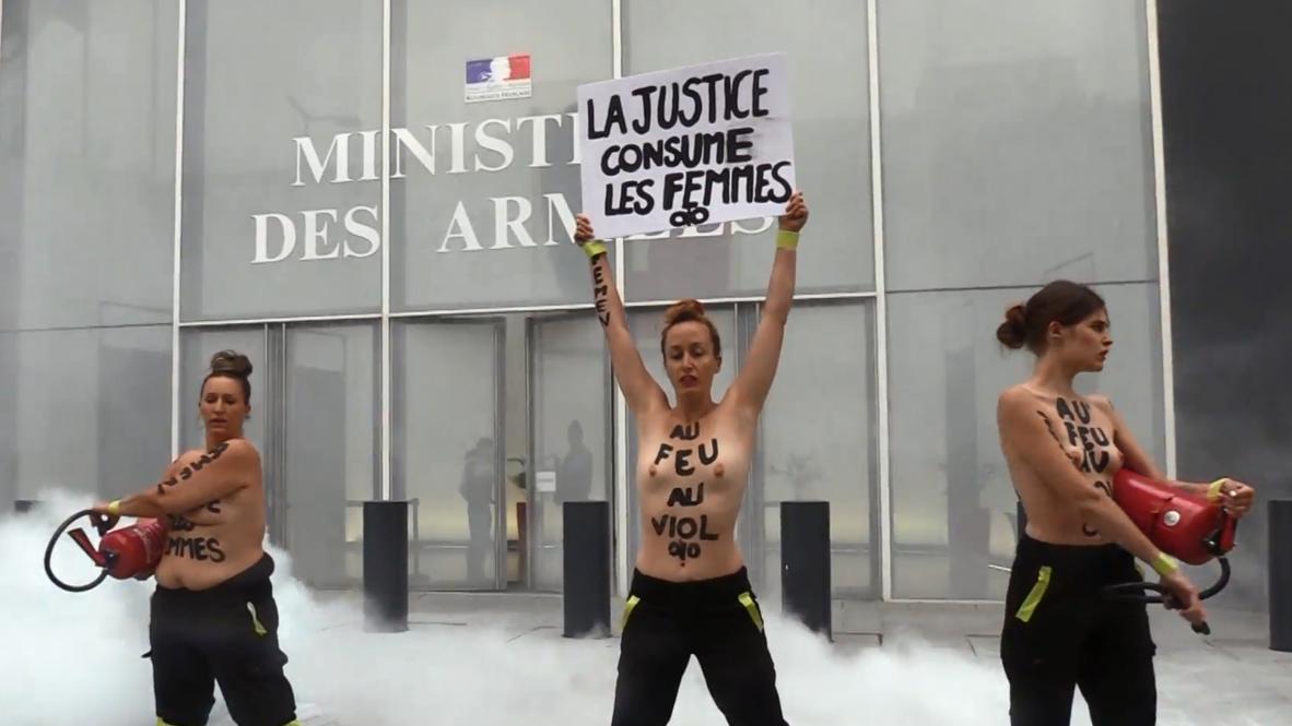 Francia: Acción de FEMEN contra 22 bomberos acusados de violar a una niña *EXPLÍCITO*
