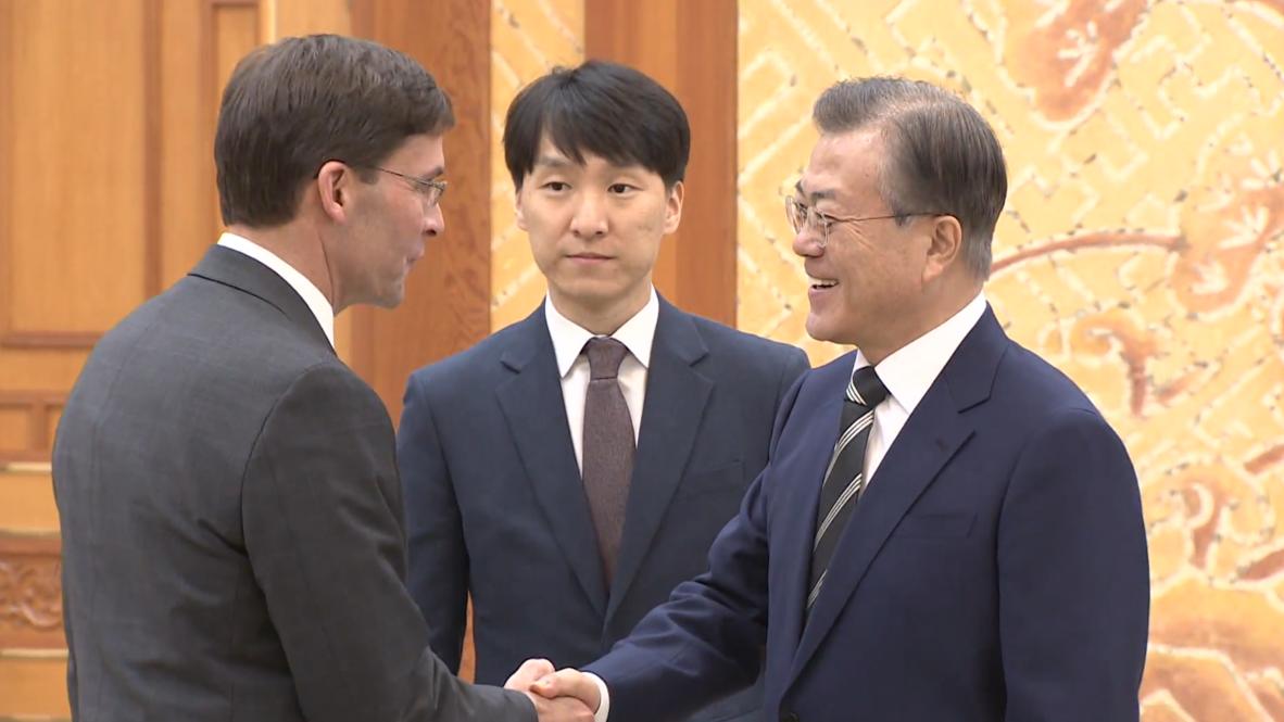 South Korea: President Moon Jae-in holds talks with US Secretary of Defense Mark Esper