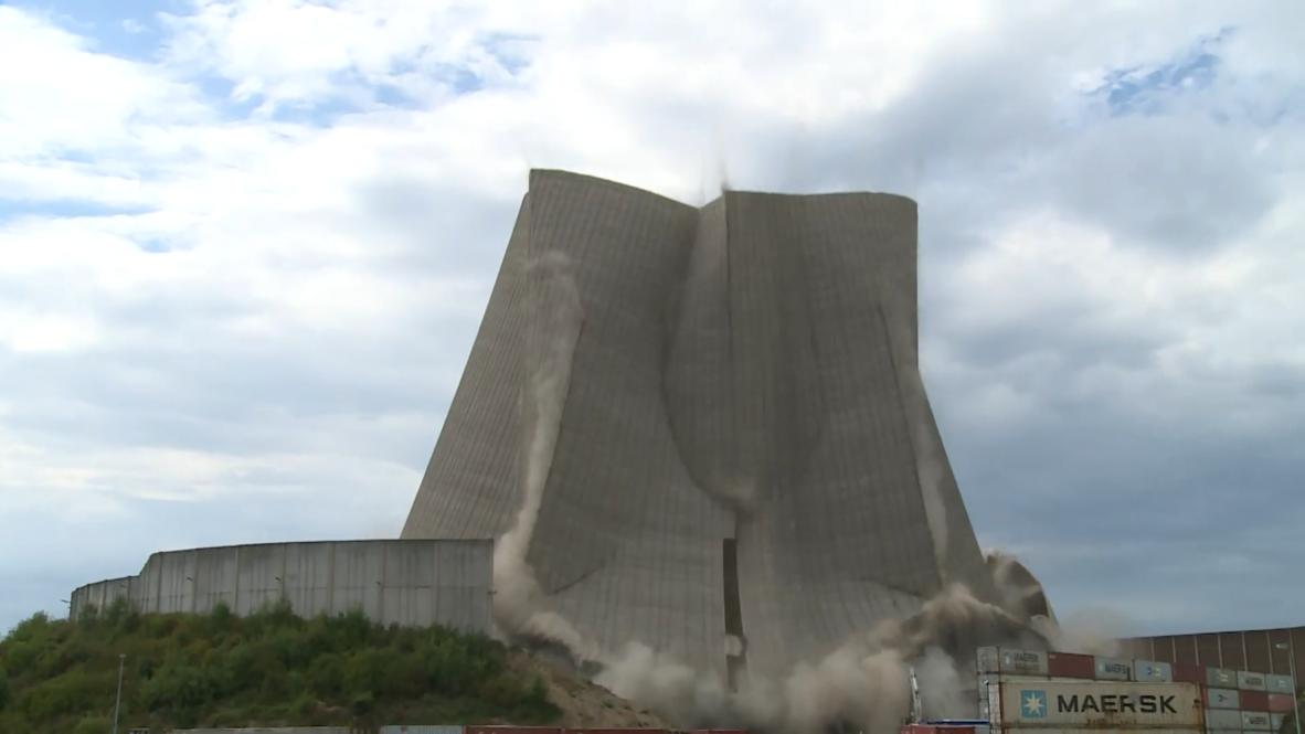 В эпицентре внимания: взрыв башни немецкой АЭС попал на видео