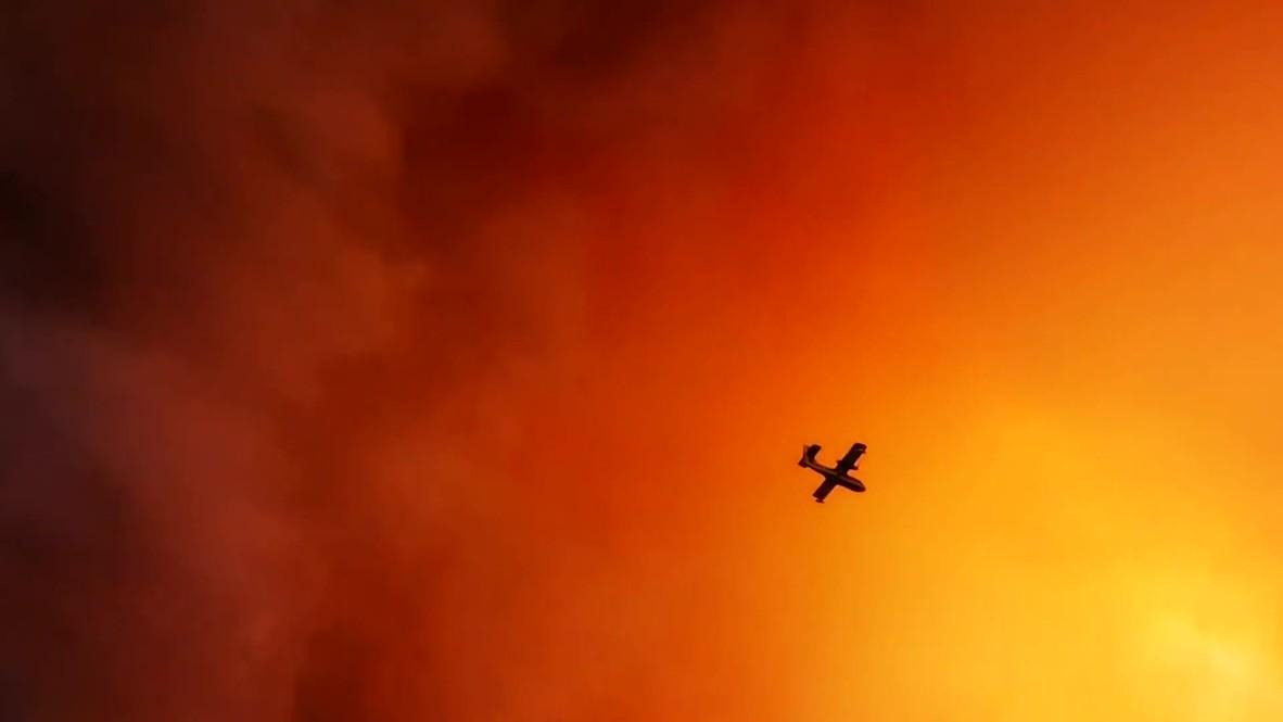 Grecia: Los bomberos combaten los incendios forestales en una isla al norte de Atenas