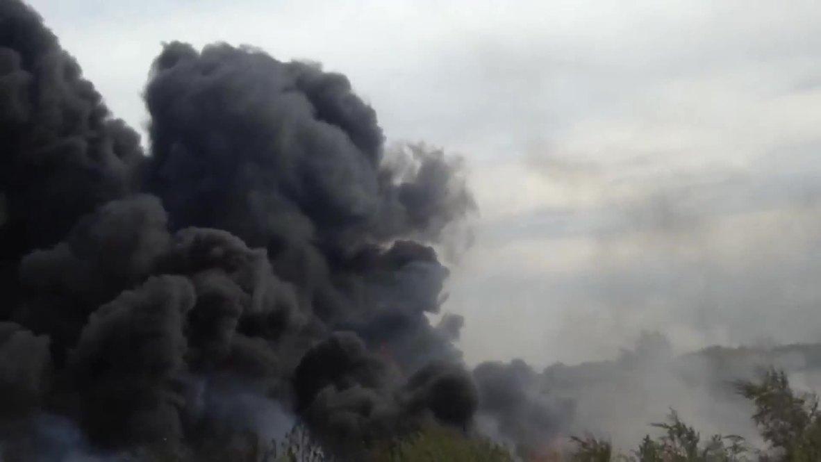 Россия: Огненное инферно в Самаре. В городе загорелось мазутное озеро