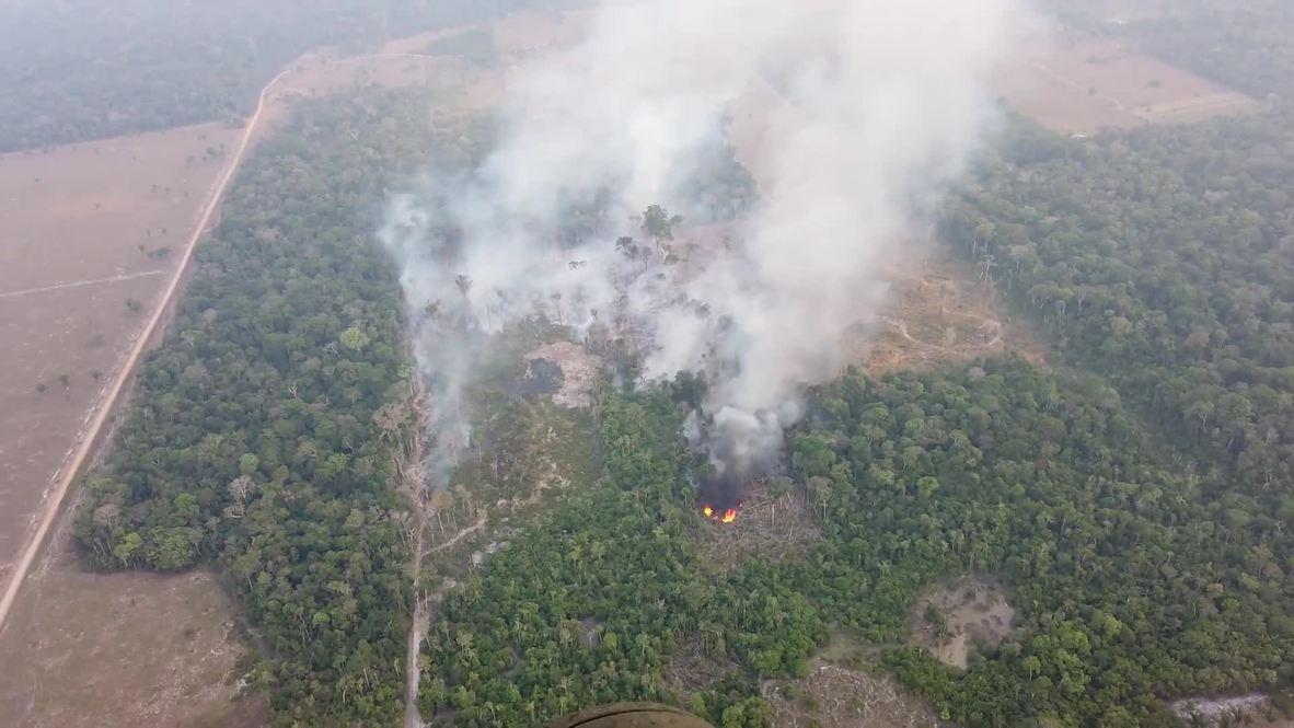 Brazil: Amazon wildfires continue to burn in Candeias do Jamari