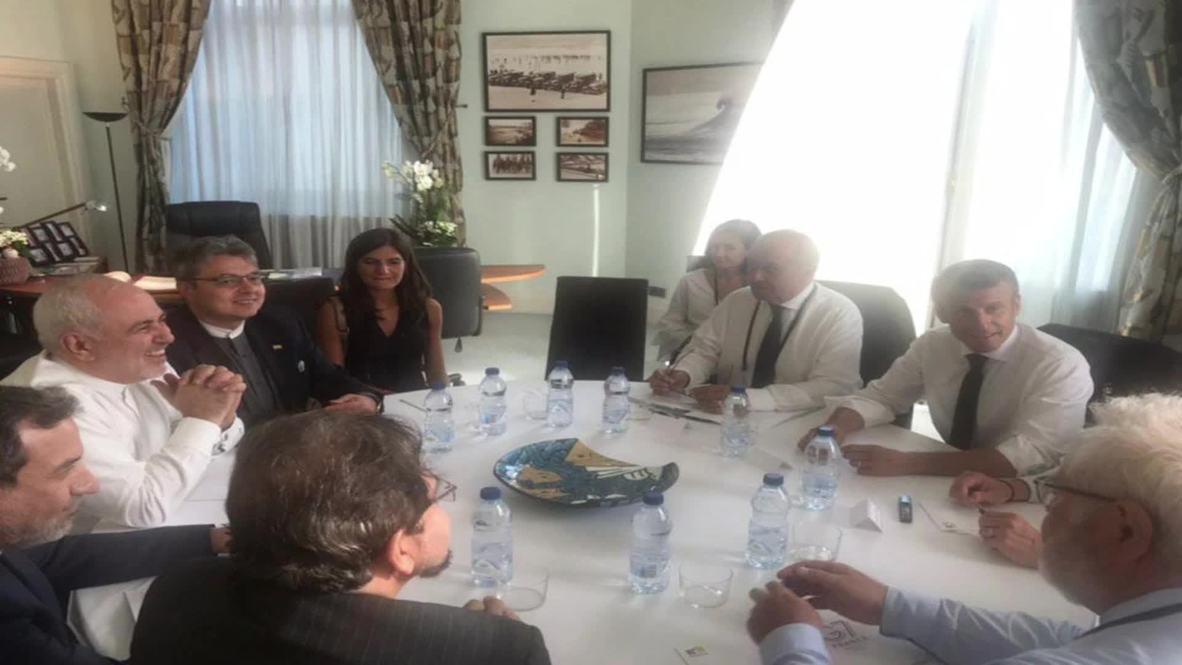 France: Iran FM Zarif meets Macron for shock talks at G7 *STILLS*