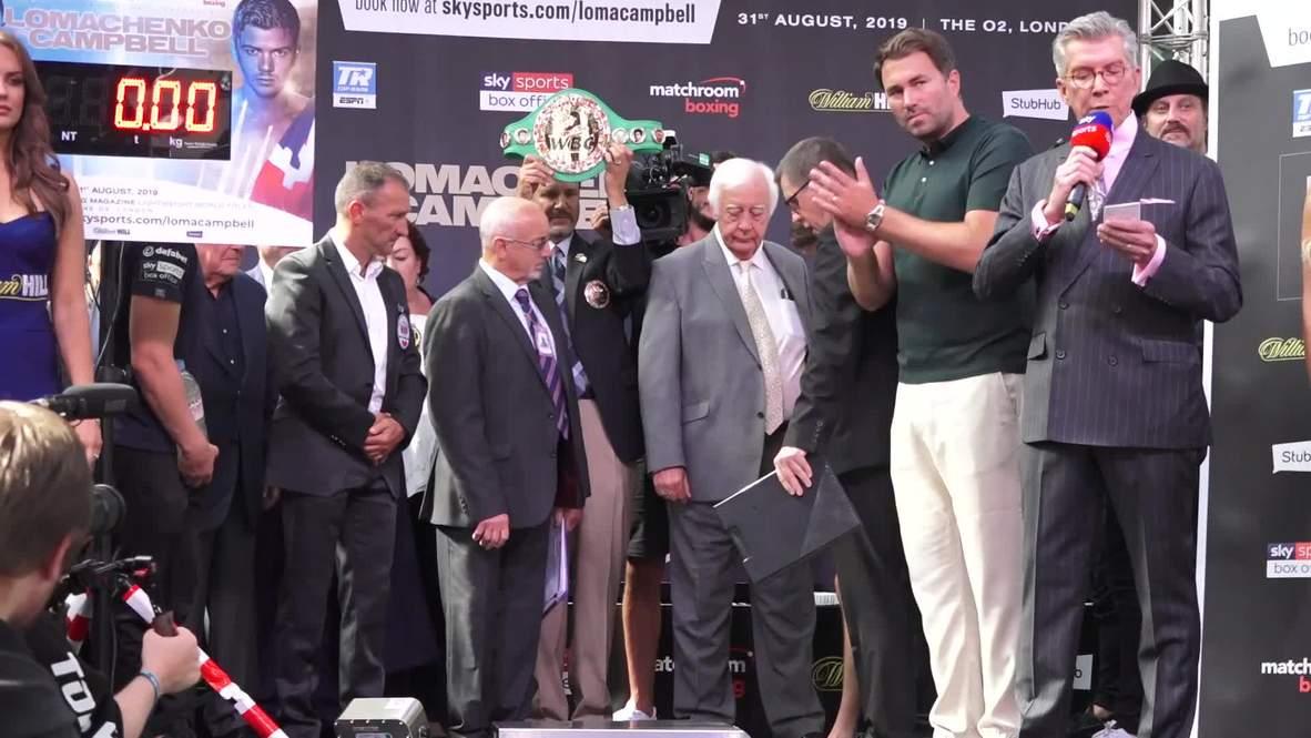 Reino Unido: Lomachenko y Campbell se preparan para la pelea por el título de peso ligero