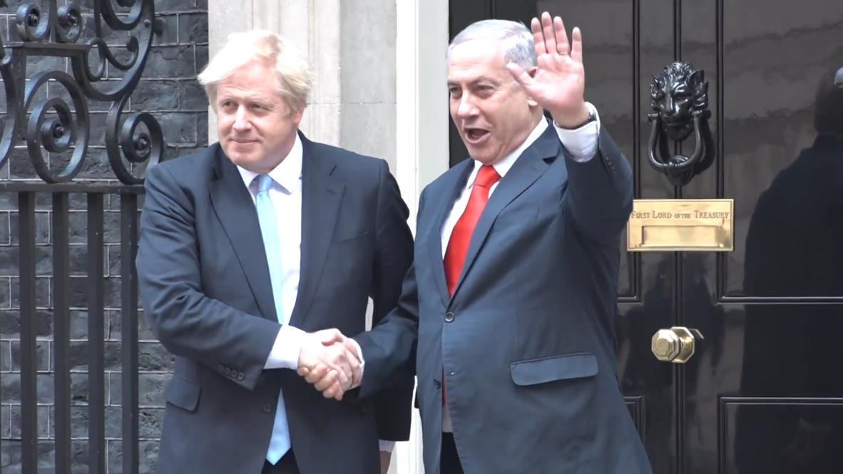 UK: Netanyahu arrives at 10 Downing Street to meet Boris Johnson