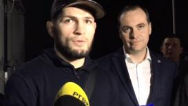 Россия: После триумфального боя чемпион UFC Хабиб Нурмагомедов прилетел в Махачкалу