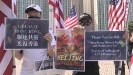 """Hong Kong: """"Es similar a una llamada de socorro""""- manifestantes solicitan ayuda de EE.UU."""