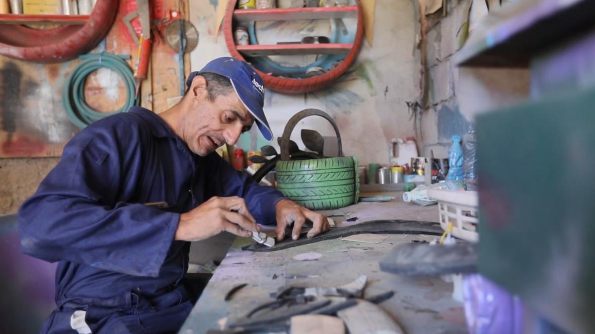 Yemen: Sanaa artist upcycles old tires into art amid conflict