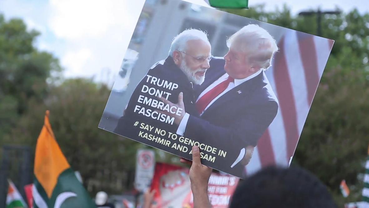 """EE.UU.: Protesta contra el """"genocidio en Cachemira"""" durante la reunión entre Modi y Trump"""
