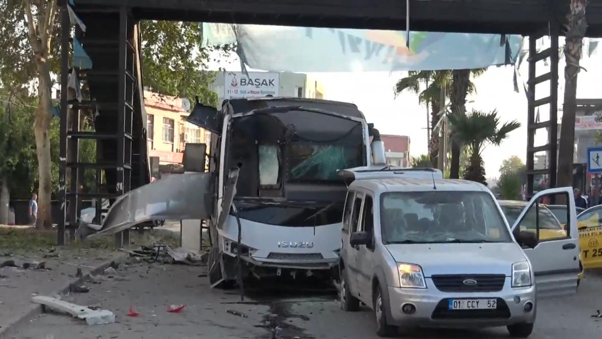 تركيا: خمسة إصابات جراء تفجير استهدف حافلة للشرطة في مدينة أضنة