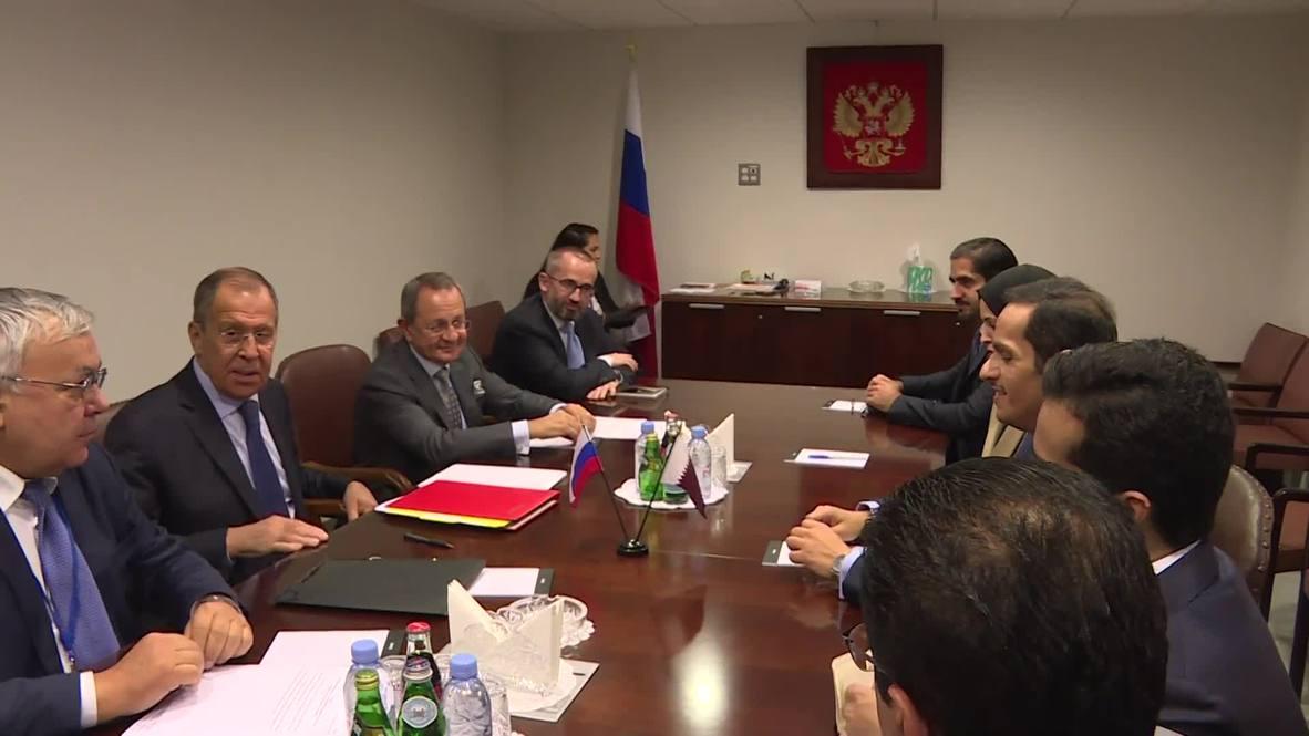 UN: Lavrov meets Qatar counterpart Al-Thani on sidelines of UNGA