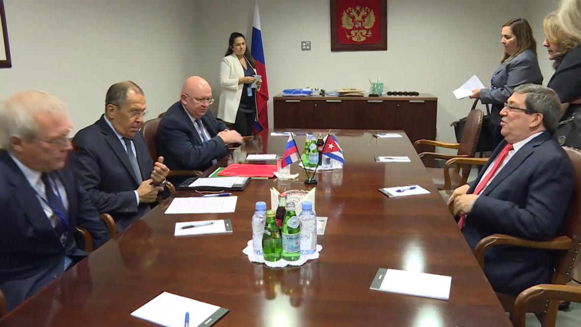 ONU: Serguéi Lavrov y Bruno Rodríguez conversan en reunión paralela durante la AGNU