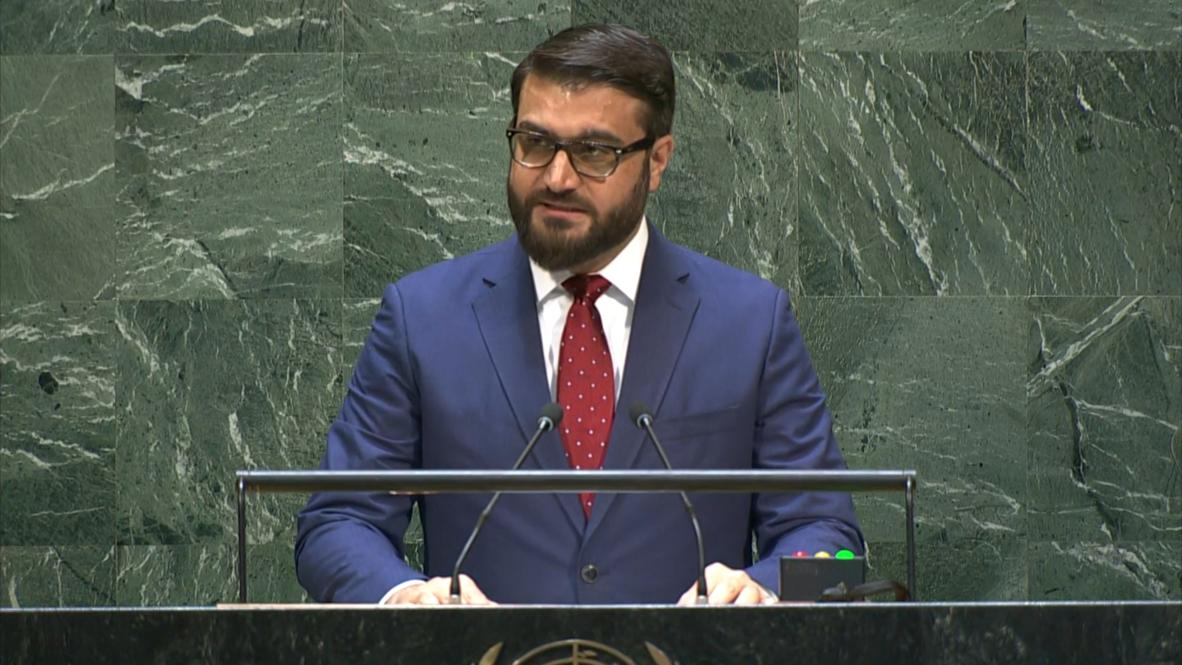 """الأمم المتحدة: ممثل أفغانستان أمام الجمعية العامة يقول إن """"السلام يبقى أولوية"""" الحكومة"""