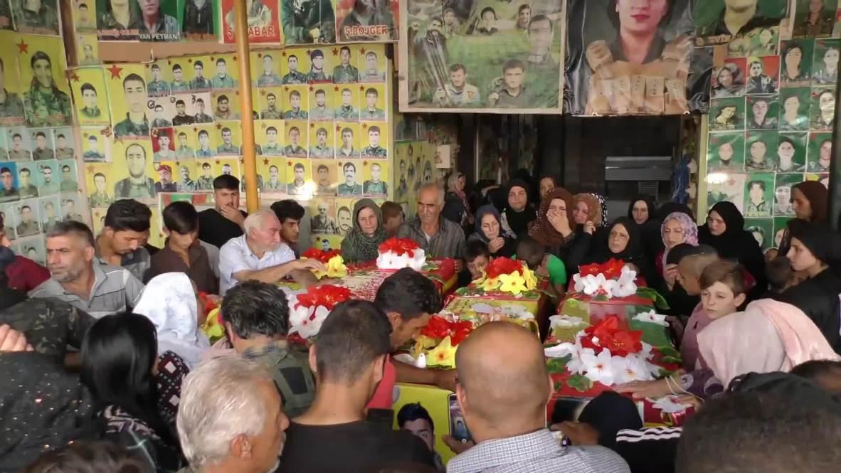 """سوريا: القامشلي تشيع جثامين أربعة أشخاص قتلوا بسبب عملية """"نبع السلام"""" التركية"""