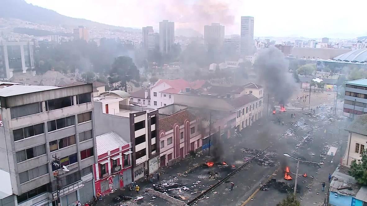 Ecuador: Protestas antigubernamentales transforman a Quito en un campo de batalla