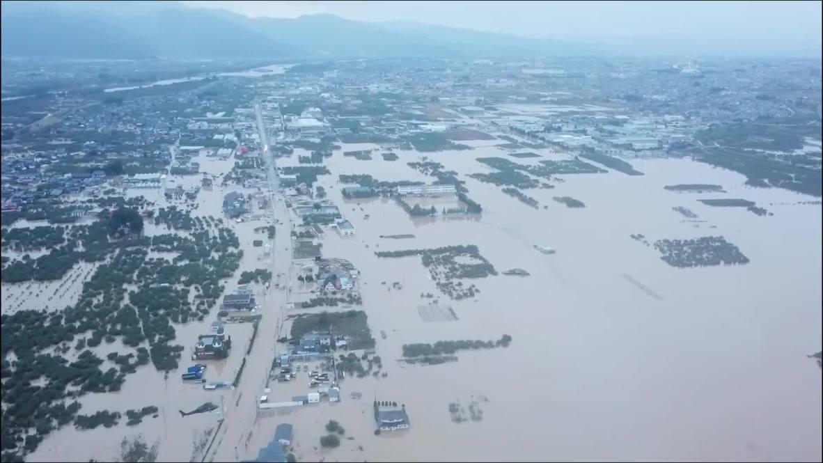 Япония: Последствия наводнения в Нагано после тайфуна Хагибис сняли с воздуха