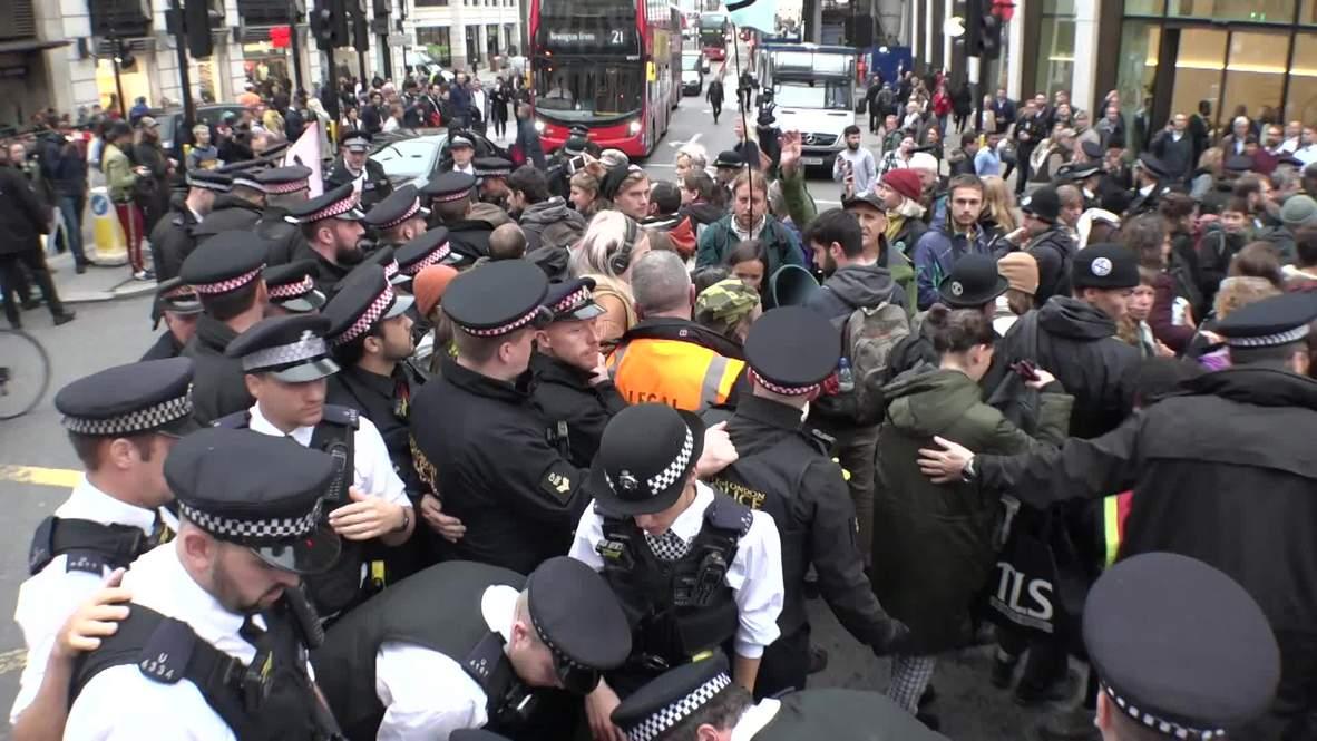 UK: Extinction Rebellion block London during Queen's Speech