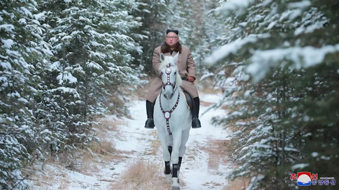 الزعيم الكوري الشمالي يمتطي حصان أبيض فوق الجبل المقدس *لقطات*