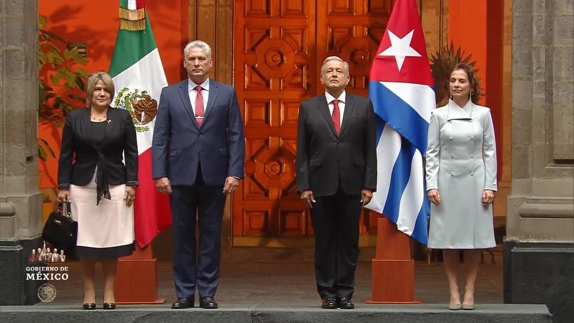 México: Presidente de Cuba inicia visita oficial siendo recibido por AMLO en Ciudad de México