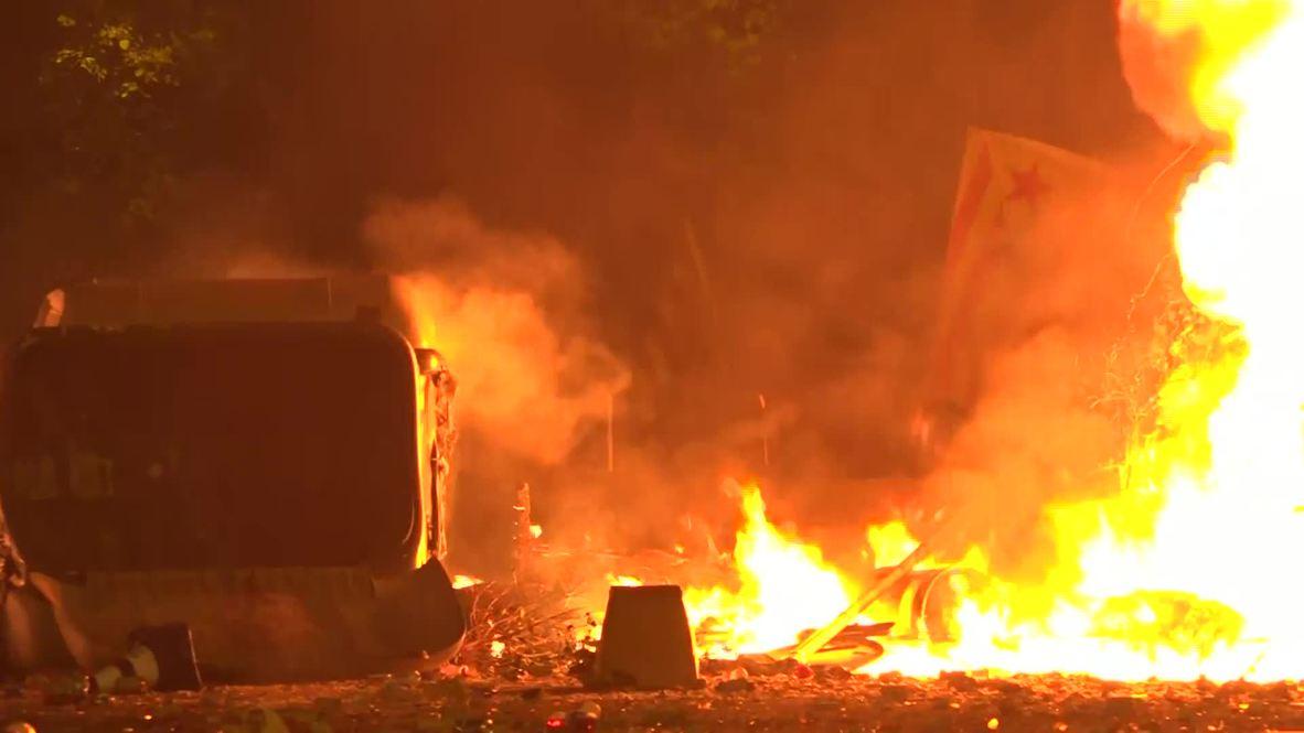 España: Barcelona en llamas durante el quinto día de protestas en la ciudad