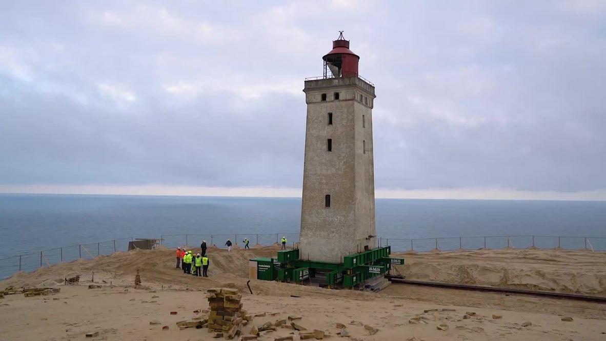 WHEELS used to shift Danish lighthouse 70m back from coast
