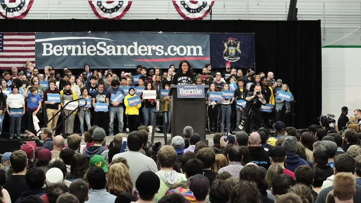 USA: Congresswoman Rashida Tlaib endorses Bernie Sanders for president
