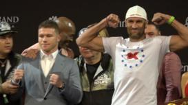 EE.UU.: Álvarez y Kovalev tienen un 'cara a cara' antes de la pelea por el título de los semipesados
