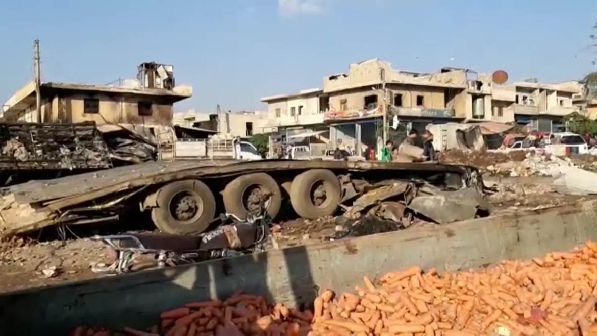 سوريا: آثار الدمار الذي خلفه انفجار سيارة مفخخة في عفرين