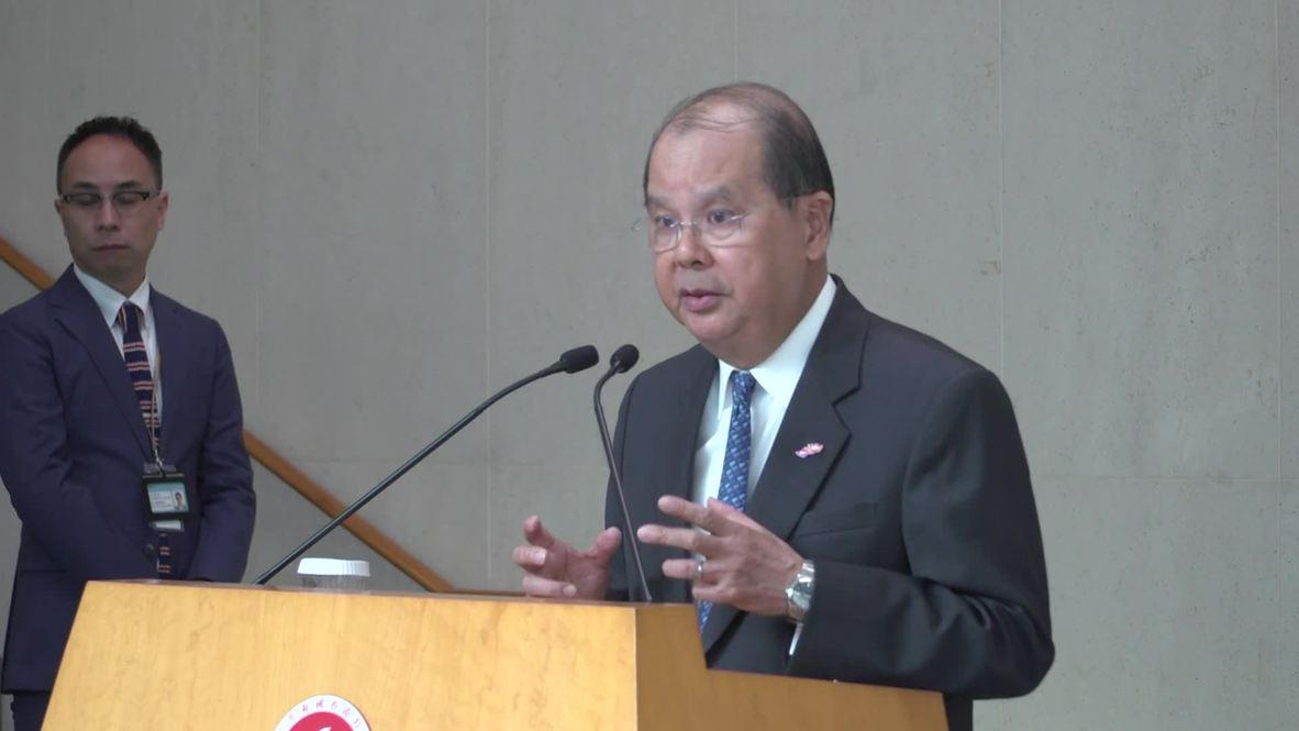 """Hong Kong: El secretario en jefe pide una sociedad """"tranquila y racional"""" para combatir la recesión"""