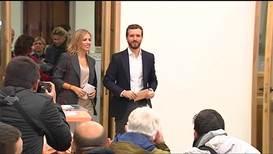 España: Pablo Casado, líder del Partido Popular, emite su voto en las elecciones generales