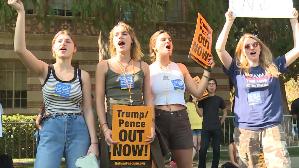USA: Dozens protest Donald Trump Jr's book presentation in LA