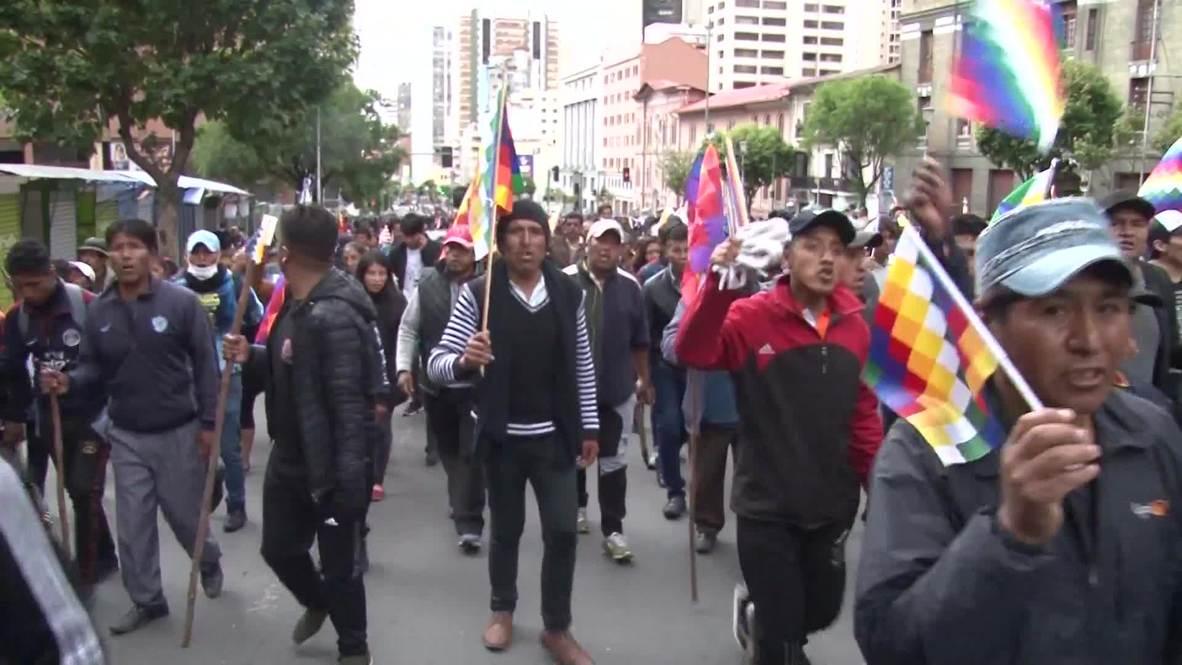 Bolivia: Partidarios de Evo Morales llegan a La Paz para manifestarle su apoyo