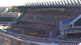 Highway diverted THROUGH Atletico Madrid's half-demolished stadium