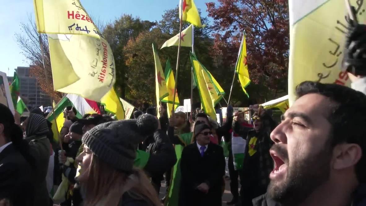 الولايات المتحدة: العشرات يتظاهرون أمام البيت الأبيض ضد زيارة أردوغان