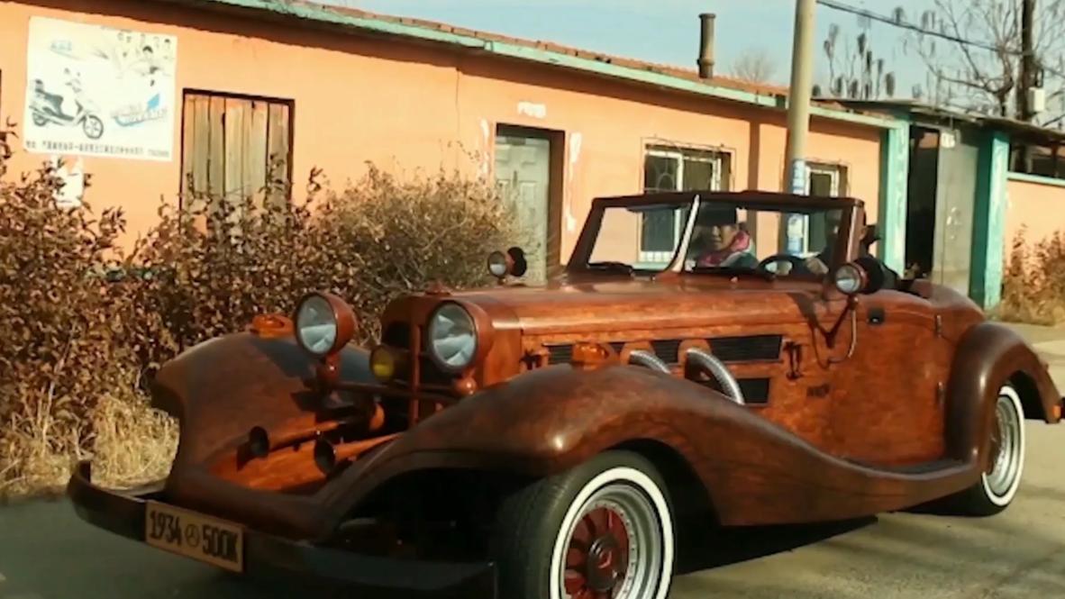 Как настоящий! Китайский плотник смастерил деревянный Mercedes Benz 500k и теперь удивляет соседей