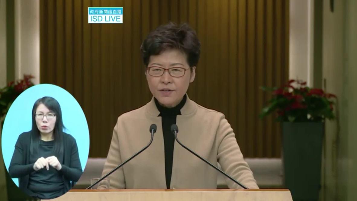 """Hong Kong: Carrie Lam pide una """"resolución pacífica"""" de los disturbios en la Universidad Politécnica"""