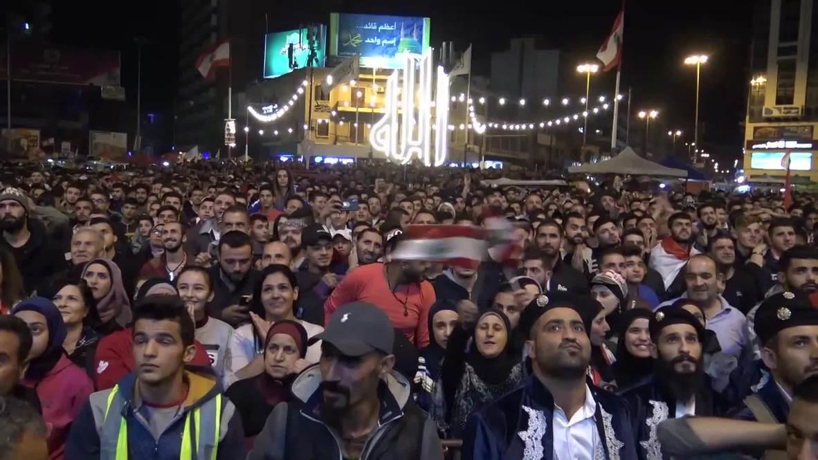لبنان: حشود غفيرة في ساحة النور بطرابلس تشجيعا للمنتخب اللبناني أمام كوريا الشمالية